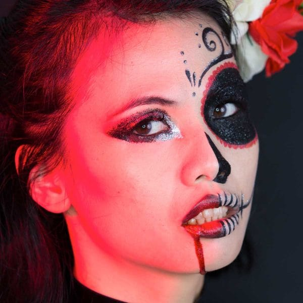 Maquillage calavera à paillettes biodégradables